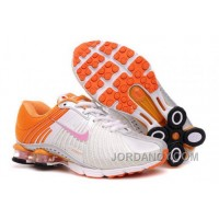 Kid's Nike Shox R4 Shoes White/Orange Authentic