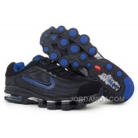 Men's Nike Air Max Shox R4 Shoes Black/Blue Discount