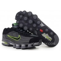 Men's Nike Air Max Shox R4 Shoes Black/Dark Grey/Green Top Deals