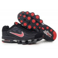 Men's Nike Air Max Shox R4 Shoes Black/Red Discount