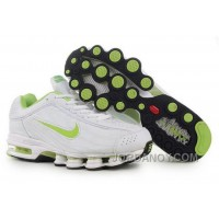 Men's Nike Air Max Shox R4 Shoes White/Light Green Top Deals
