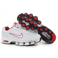 Men's Nike Air Max Shox R4 Shoes White/Red New Release