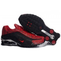 Men's Nike Shox R4 Cartoon Shoes Black/Gym Red/Silver Authentic
