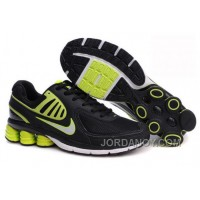 Men's Nike Shox R6 Shoes Black/Green/White Free Shipping