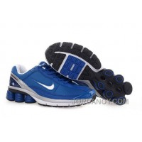 Men's Nike Shox R6 Shoes Blue/Grey/White Online