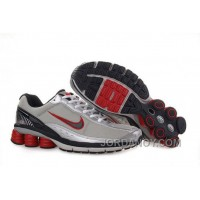 Men's Nike Shox R6 Shoes Grey/Silver/Black/Red Discount