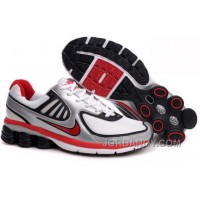 Men's Nike Shox R6 Shoes Silver/White/Black/Red Discount