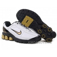Men's Nike Shox R6 Shoes White/Black/Golden New Release