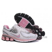 Women's Nike Shox R6 Shoes White/Light Pink/Silver Free Shipping