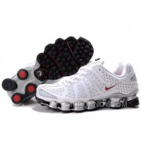 Men's Nike Shox TL Shoes White/Silver/Red New Release