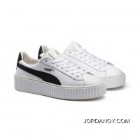 Mens PUMA BY RIHANNA CREEPER WHITE LEATHER Puma White-Puma Black-Puma White Free Shipping