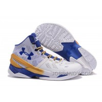 Online Under Armour Curry 2 White Blue Gold Cheap Sale