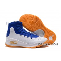 Under Armour Curry 4 Basketball Shoes Blue White Orange For Sale