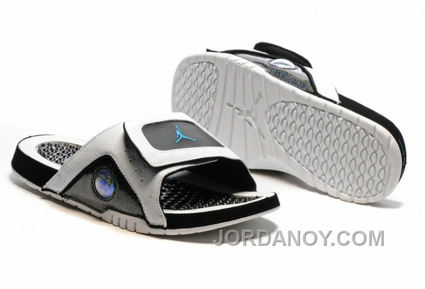 acb666711 2017 Jordan Hydro 13 Slide Sandals White Black Blue Lastest