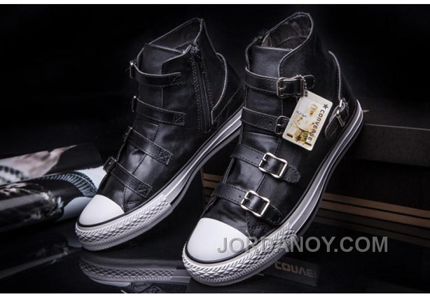 afae793c74ef CONVERSE VS ASH Multi Buckles Black Leather Chuck Taylor All Star High Tops  Sneakers Super Deals