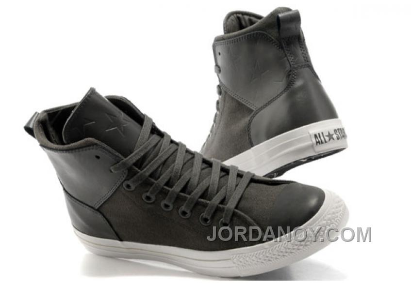 Grey CONVERSE Chuck Taylor All Star City Lights High Tops Black Leather Canvas Sneakers For Sale AP7EZ4