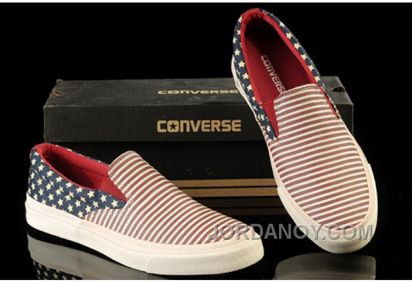 David Beckham Wore CONVERSE American Flag All Star Slip On Chuck Taylor Sneakers Red Blue Canvas Sneakers Discount KJeGTA