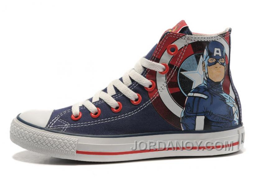 8925e9abdd0706 CONVERSE Captain America High S The Avengers Edition Blue Red White Stripes Canvas  Shoes Top Deals