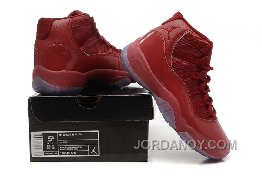 New Air Jordan 11 GS Red-Brown Leather Top Deals