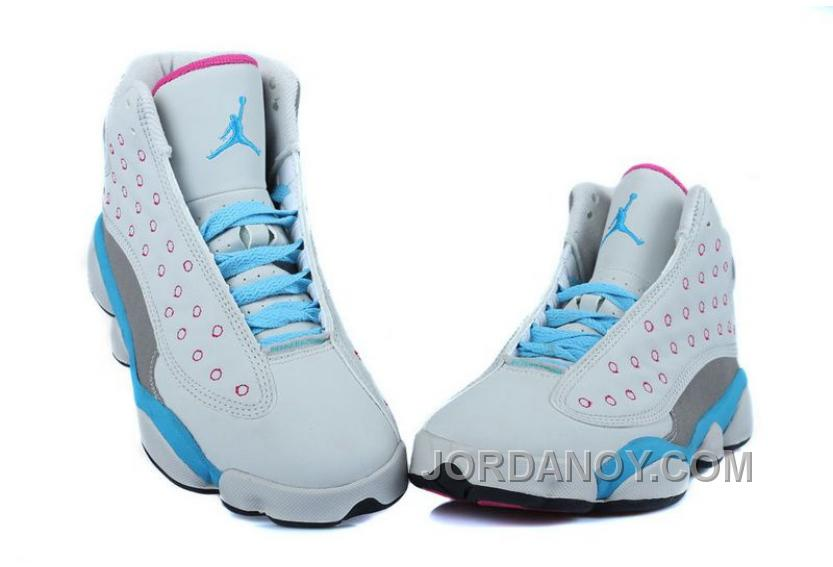 reputable site 10d7c 95b43 Hot Now Girls Air Jordan 13 Retro White-Pink/University Blue For Sale